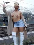 Shameless blonde nudist walking in public