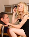 Elegant blonde domme with cigarette gets her high heel shoes licked by her slave
