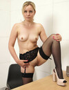 Blonde in stockings Anna Belle spreads her legs to play with herself in front of you