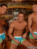 Three sexy bodied gay brothers strip out of their jeans and pose in briefs