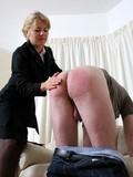 Mature Kristyn spanking lad's butt
