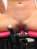 Naked girl rides the dildo chair in front of a doctor then gets banged with drilldo